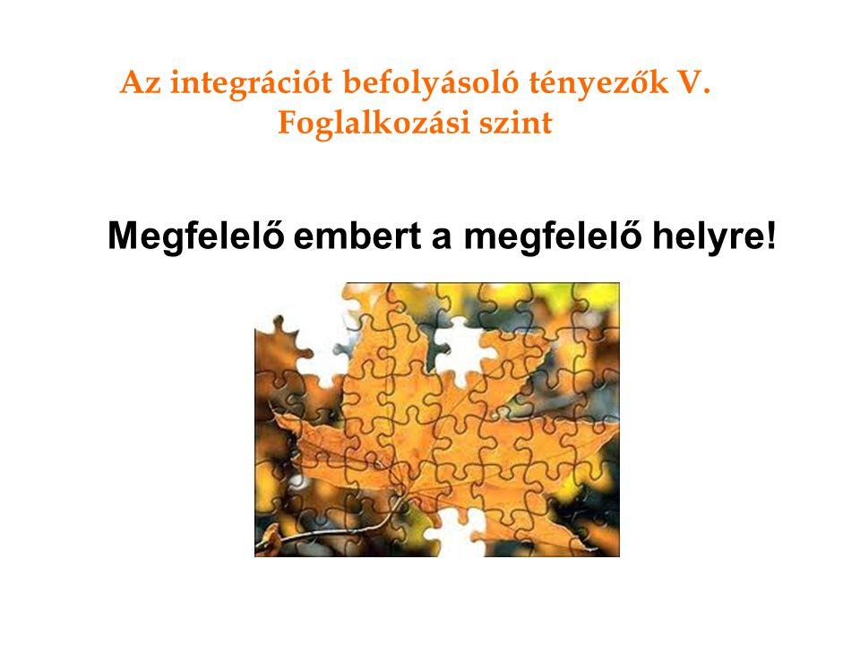 Az integrációt befolyásoló tényezők V. Foglalkozási szint Megfelelő embert a megfelelő helyre!