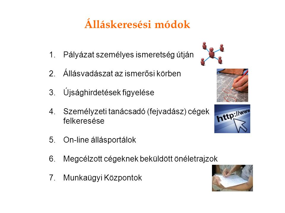 Álláskeresési módok 1.Pályázat személyes ismeretség útján 2.Állásvadászat az ismerősi körben 3.Újsághirdetések figyelése 4.Személyzeti tanácsadó (fejv