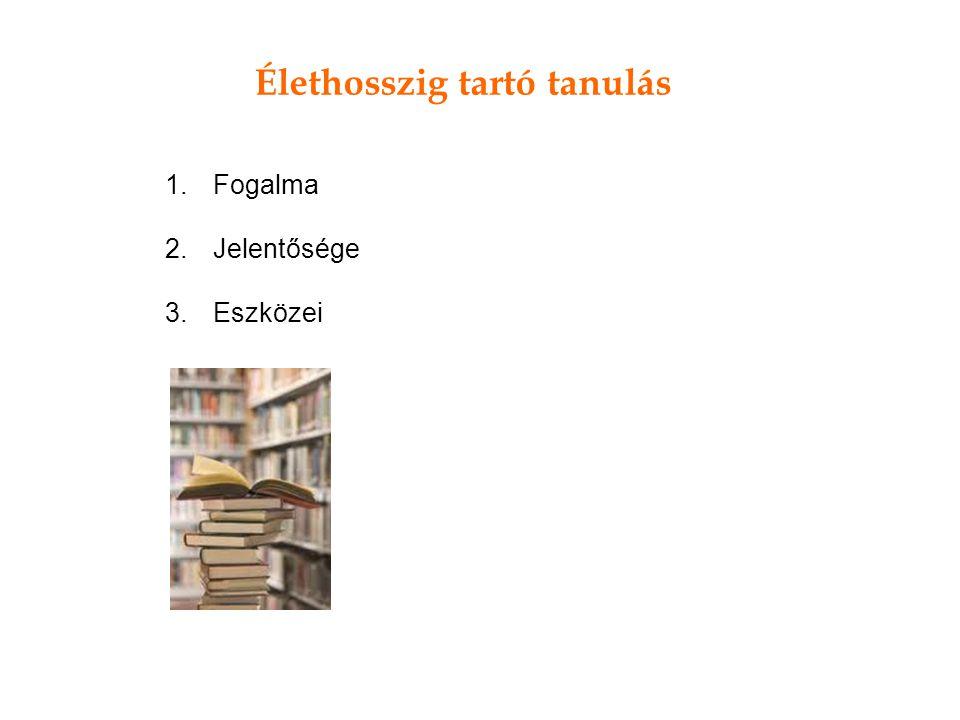 Élethosszig tartó tanulás 1.Fogalma 2.Jelentősége 3.Eszközei