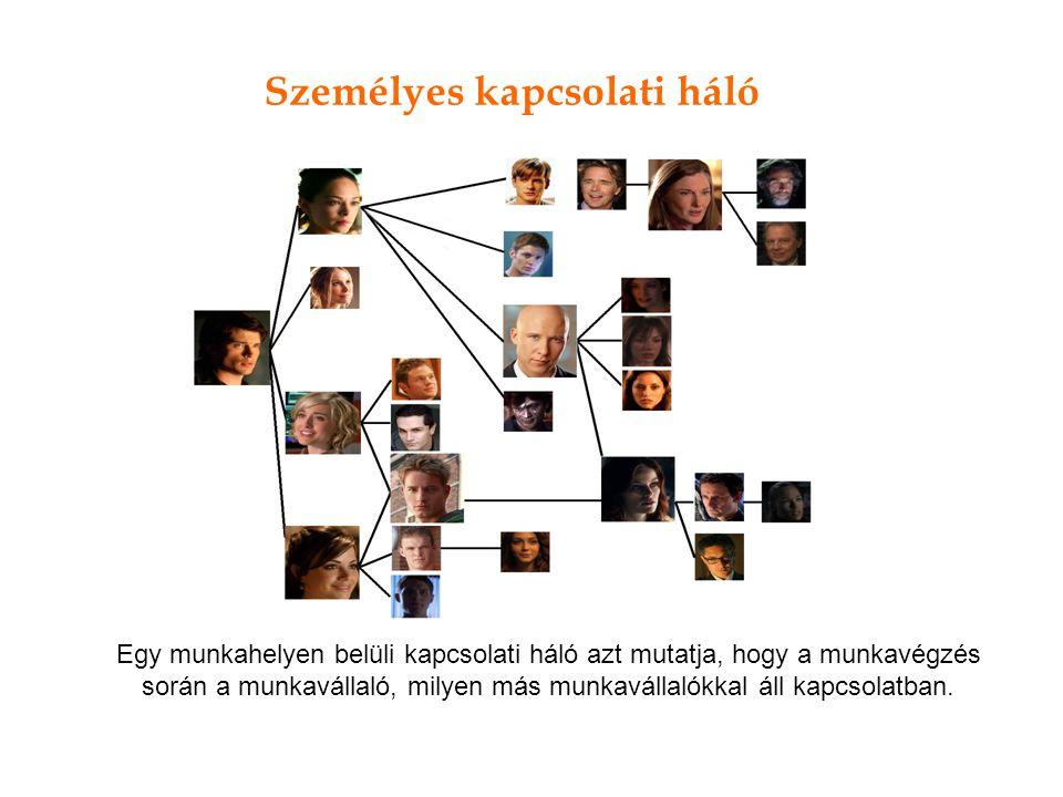 Személyes kapcsolati háló Egy munkahelyen belüli kapcsolati háló azt mutatja, hogy a munkavégzés során a munkavállaló, milyen más munkavállalókkal áll kapcsolatban.