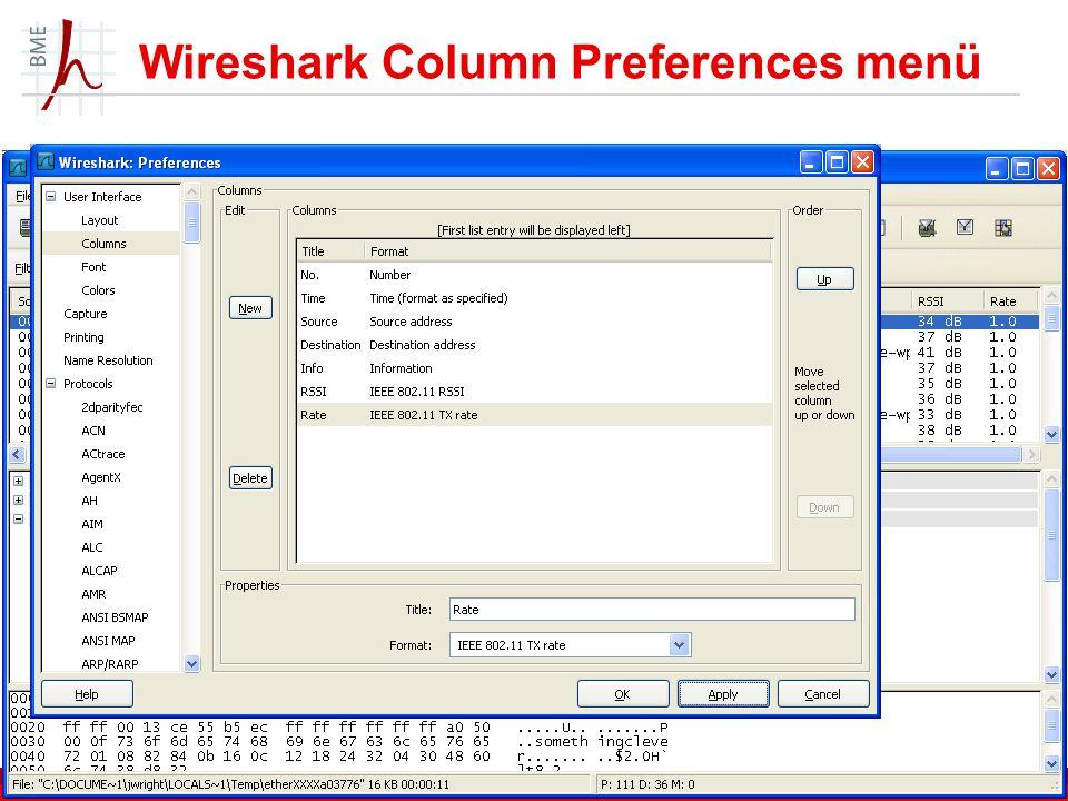 Wireshark Column Preferences menü