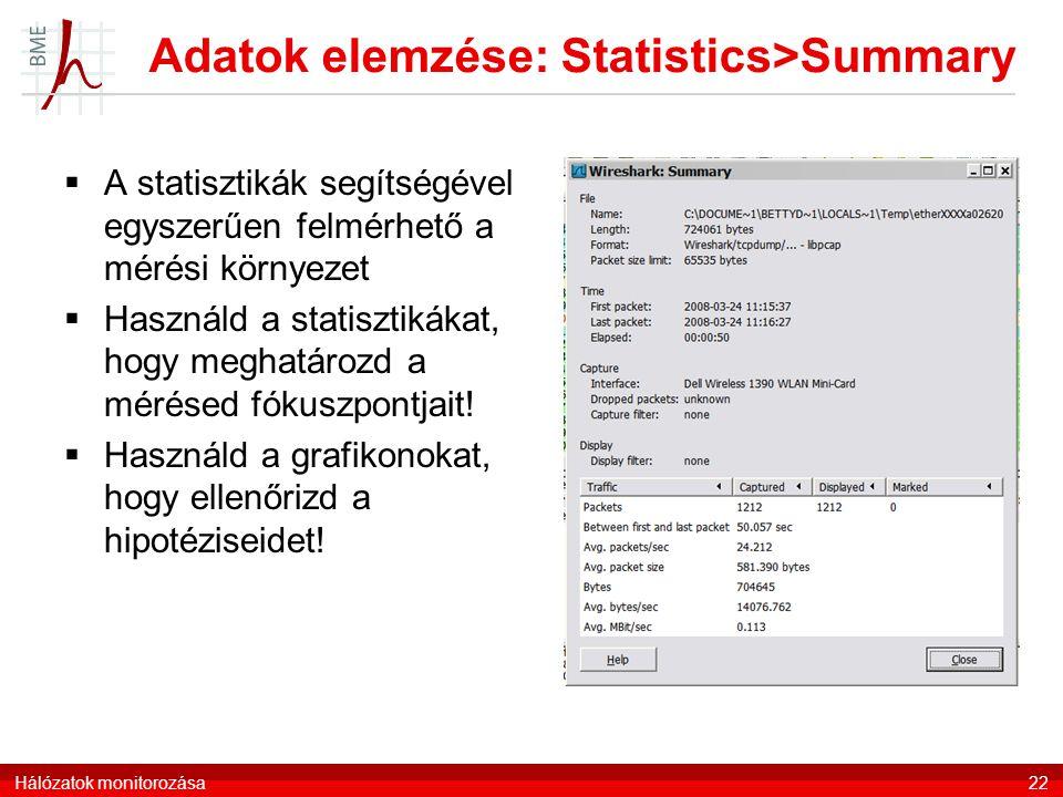 Adatok elemzése: Statistics>Summary  A statisztikák segítségével egyszerűen felmérhető a mérési környezet  Használd a statisztikákat, hogy meghatáro