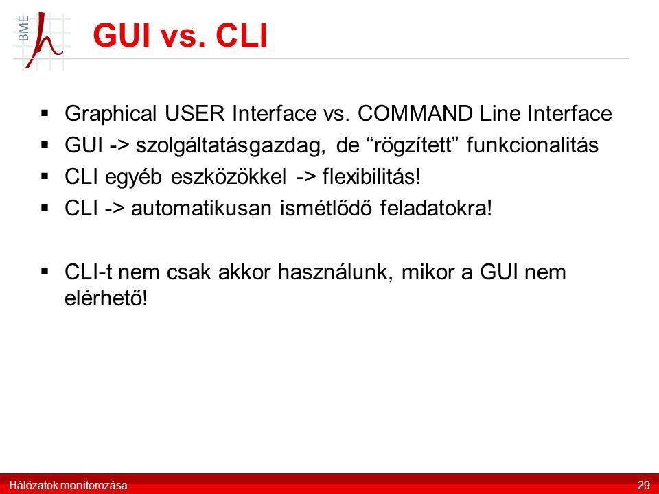 """GUI vs. CLI  Graphical USER Interface vs. COMMAND Line Interface  GUI -> szolgáltatásgazdag, de """"rögzített"""" funkcionalitás  CLI egyéb eszközökkel -"""