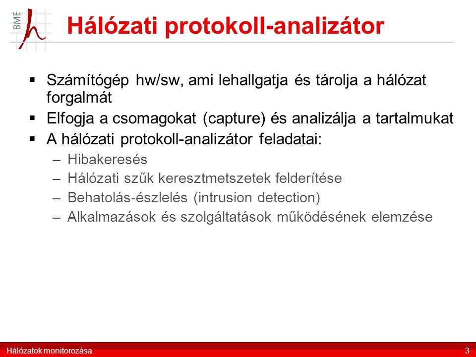 Hálózatok monitorozása3 Hálózati protokoll-analizátor  Számítógép hw/sw, ami lehallgatja és tárolja a hálózat forgalmát  Elfogja a csomagokat (capture) és analizálja a tartalmukat  A hálózati protokoll-analizátor feladatai: –Hibakeresés –Hálózati szűk keresztmetszetek felderítése –Behatolás-észlelés (intrusion detection) –Alkalmazások és szolgáltatások működésének elemzése