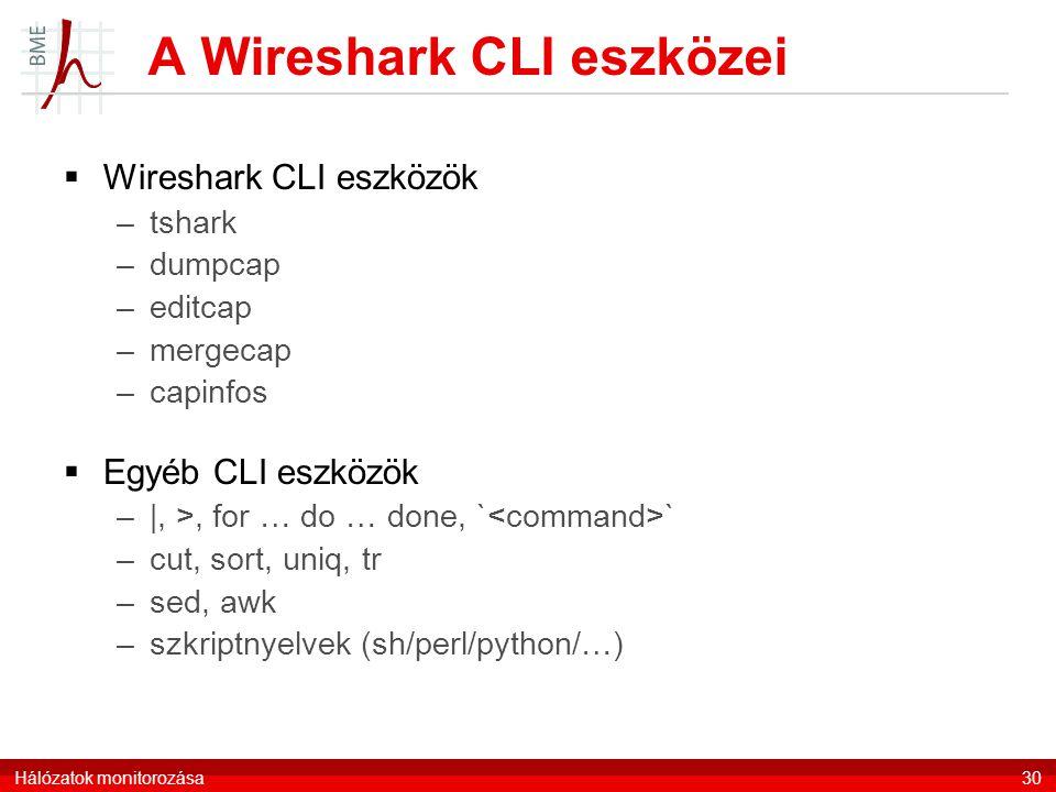 A Wireshark CLI eszközei  Wireshark CLI eszközök –tshark –dumpcap –editcap –mergecap –capinfos  Egyéb CLI eszközök –|, >, for … do … done, ` ` –cut, sort, uniq, tr –sed, awk –szkriptnyelvek (sh/perl/python/…) Hálózatok monitorozása30