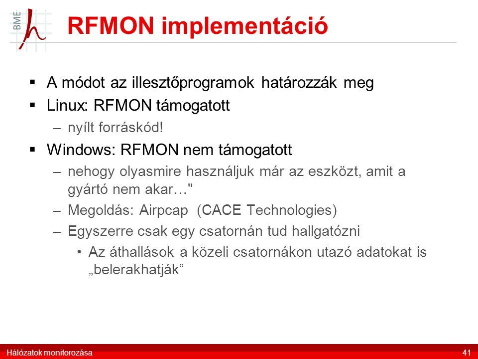RFMON implementáció  A módot az illesztőprogramok határozzák meg  Linux: RFMON támogatott –nyílt forráskód!  Windows: RFMON nem támogatott –nehogy