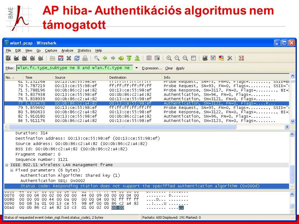 AP hiba- Authentikációs algoritmus nem támogatott