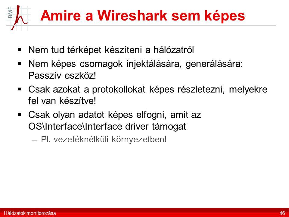 Amire a Wireshark sem képes  Nem tud térképet készíteni a hálózatról  Nem képes csomagok injektálására, generálására: Passzív eszköz!  Csak azokat