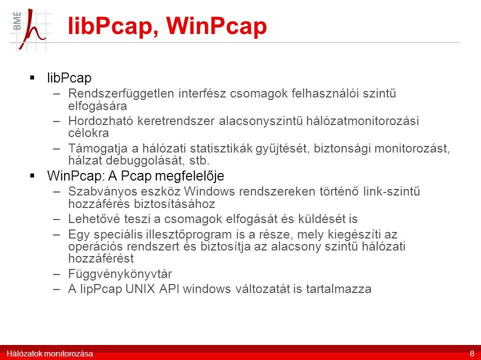 libPcap, WinPcap  libPcap –Rendszerfüggetlen interfész csomagok felhasználói szintű elfogására –Hordozható keretrendszer alacsonyszintű hálózatmonitorozási célokra –Támogatja a hálózati statisztikák gyűjtését, biztonsági monitorozást, hálzat debuggolását, stb.