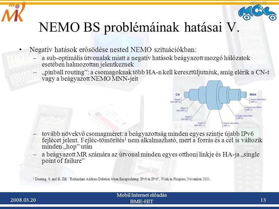 2008.03.20 Mobil Internet előadás BME-HIT 13 NEMO BS problémáinak hatásai V.