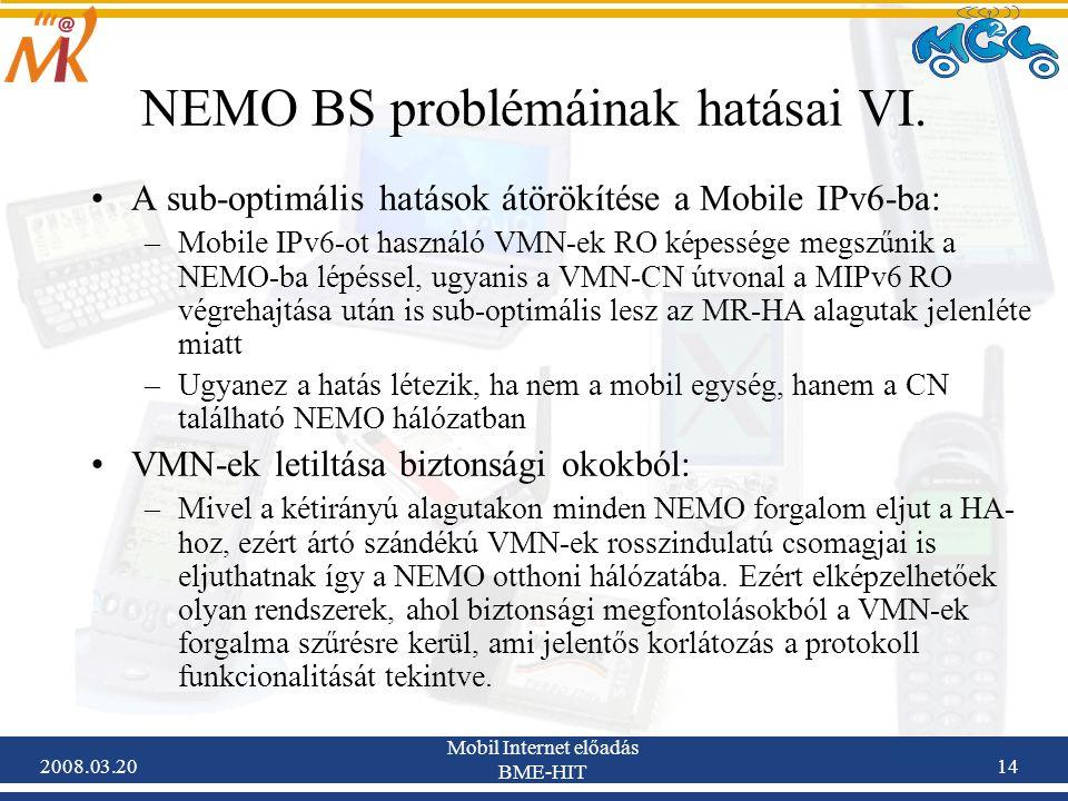 2008.03.20 Mobil Internet előadás BME-HIT 14 NEMO BS problémáinak hatásai VI.