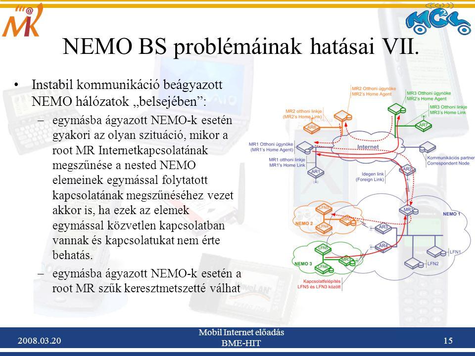 2008.03.20 Mobil Internet előadás BME-HIT 15 NEMO BS problémáinak hatásai VII.