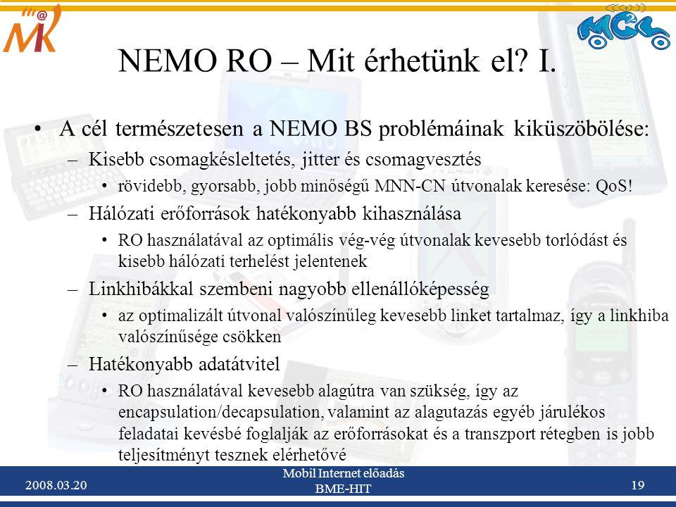 2008.03.20 Mobil Internet előadás BME-HIT 19 NEMO RO – Mit érhetünk el.