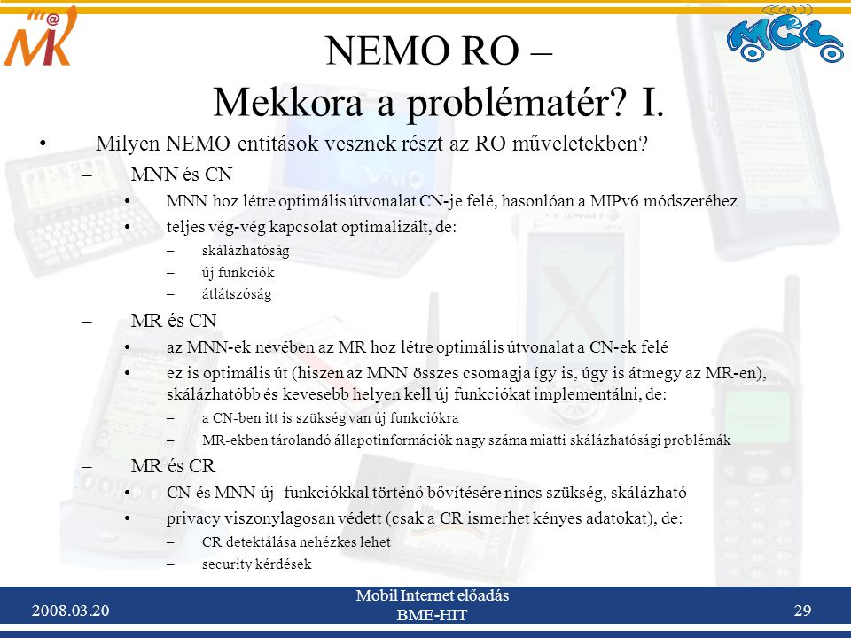 2008.03.20 Mobil Internet előadás BME-HIT 29 NEMO RO – Mekkora a problématér.