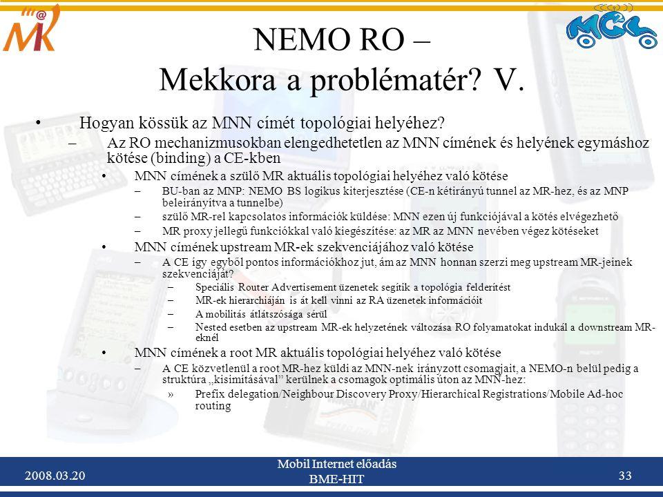 2008.03.20 Mobil Internet előadás BME-HIT 33 NEMO RO – Mekkora a problématér.