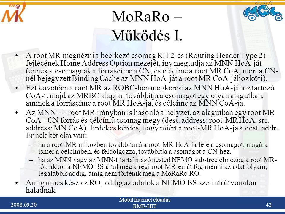 2008.03.20 Mobil Internet előadás BME-HIT 42 MoRaRo – Működés I.