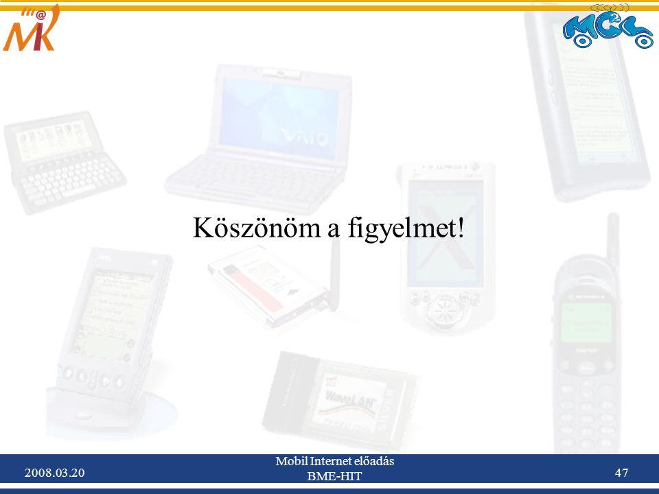 2008.03.20 Mobil Internet előadás BME-HIT 47 Köszönöm a figyelmet!