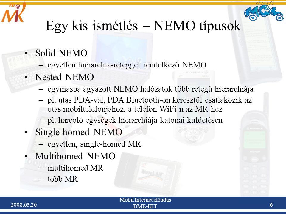 2008.03.20 Mobil Internet előadás BME-HIT 7 Egy kis ismétlés – NEMO Basic Support 2001:738:2001:2088::/64 MR-HoA 2001:738:2001:2088::eui64/64 MNP 2001:738:2001:2089::/64 LFN címe 2001:738:2001:2089::eui64/64 MR-CoA 3ffe:ffff:fe3:8000::eui64/64 3ffe:ffff:fe3:8000::/64 Binding Update Binding Cache: 2001:738:2001:2088::eui64/64 – MR-CoA 2001:738:2001:2089::/64 – MR-CoA Kétirányú alagút