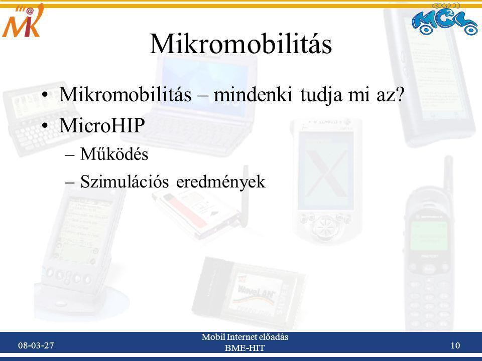 08-03-27 Mobil Internet előadás BME-HIT 10 Mikromobilitás Mikromobilitás – mindenki tudja mi az.