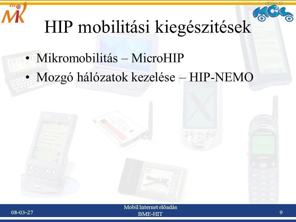 08-03-27 Mobil Internet előadás BME-HIT 9 HIP mobilitási kiegészitések Mikromobilitás – MicroHIP Mozgó hálózatok kezelése – HIP-NEMO
