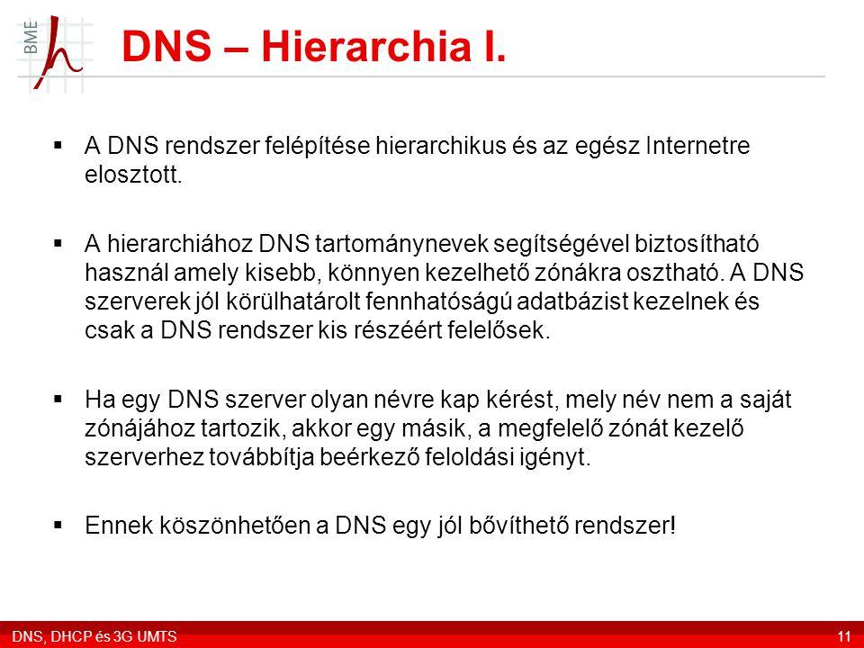 DNS, DHCP és 3G UMTS11 DNS – Hierarchia I.  A DNS rendszer felépítése hierarchikus és az egész Internetre elosztott.  A hierarchiához DNS tartományn