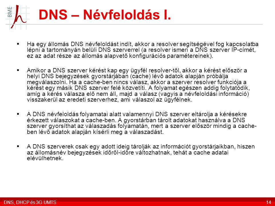 DNS, DHCP és 3G UMTS14 DNS – Névfeloldás I.