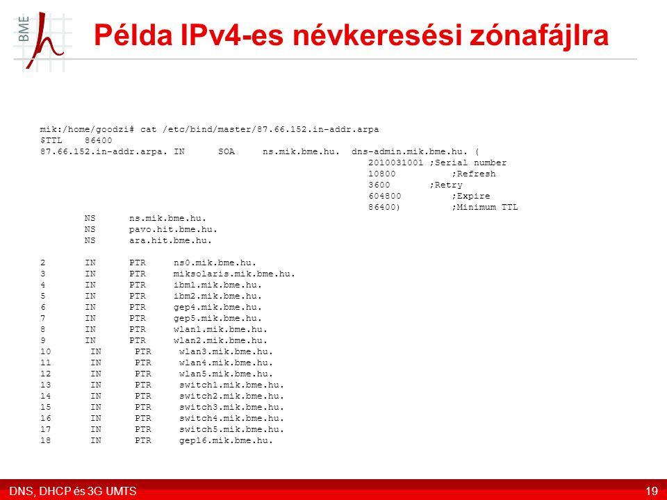 DNS, DHCP és 3G UMTS19 Példa IPv4-es névkeresési zónafájlra mik:/home/goodzi# cat /etc/bind/master/87.66.152.in-addr.arpa $TTL 86400 87.66.152.in-addr.arpa.
