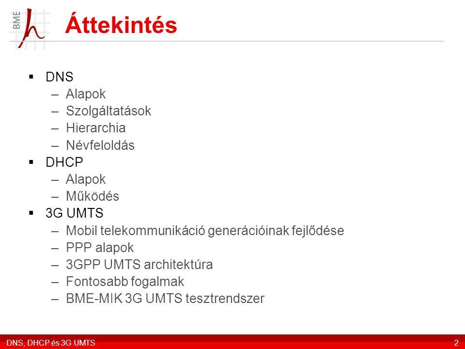DNS, DHCP és 3G UMTS2 Áttekintés  DNS –Alapok –Szolgáltatások –Hierarchia –Névfeloldás  DHCP –Alapok –Működés  3G UMTS –Mobil telekommunikáció generációinak fejlődése –PPP alapok –3GPP UMTS architektúra –Fontosabb fogalmak –BME-MIK 3G UMTS tesztrendszer