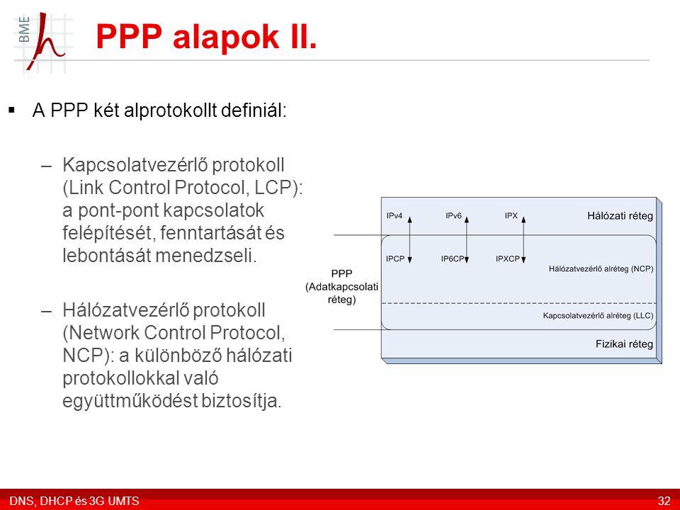 DNS, DHCP és 3G UMTS32 PPP alapok II.  A PPP két alprotokollt definiál: –Kapcsolatvezérlő protokoll (Link Control Protocol, LCP): a pont-pont kapcsol
