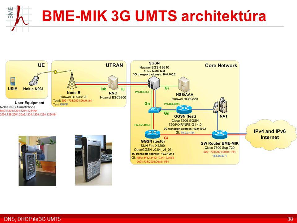 DNS, DHCP és 3G UMTS38 BME-MIK 3G UMTS architektúra