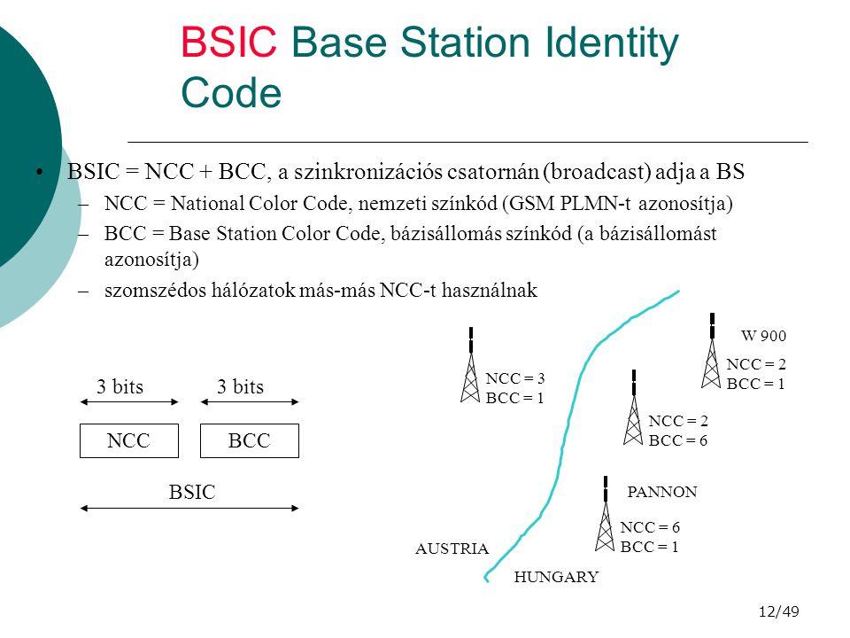 12/49 BSIC Base Station Identity Code BSIC = NCC + BCC, a szinkronizációs csatornán (broadcast) adja a BS –NCC = National Color Code, nemzeti színkód (GSM PLMN-t azonosítja) –BCC = Base Station Color Code, bázisállomás színkód (a bázisállomást azonosítja) –szomszédos hálózatok más-más NCC-t használnak NCCBCC BSIC 3 bits NCC = 2 BCC = 1 NCC = 2 BCC = 6 NCC = 6 BCC = 1 W 900 PANNON NCC = 3 BCC = 1 HUNGARY AUSTRIA