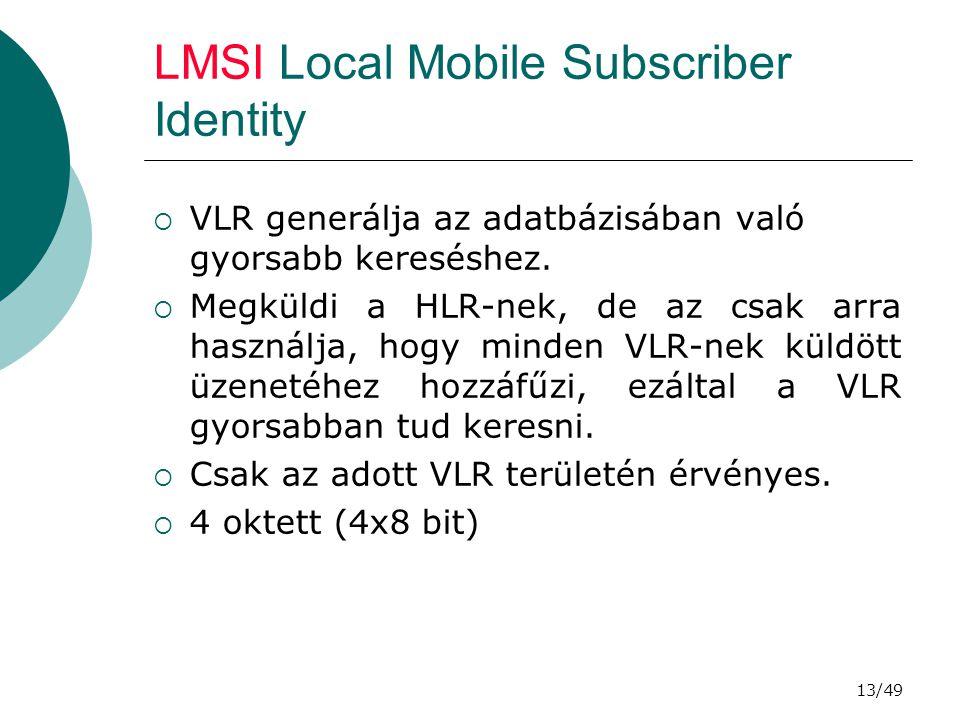 13/49 LMSI Local Mobile Subscriber Identity  VLR generálja az adatbázisában való gyorsabb kereséshez.