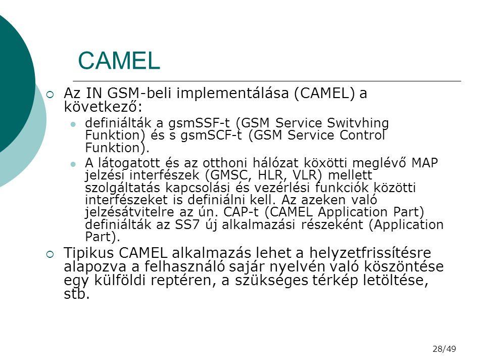 28/49 CAMEL  Az IN GSM-beli implementálása (CAMEL) a következő: definiálták a gsmSSF-t (GSM Service Switvhing Funktion) és s gsmSCF-t (GSM Service Control Funktion).