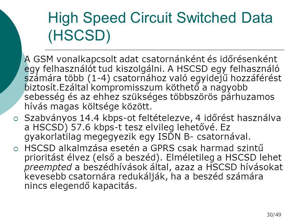 30/49 High Speed Circuit Switched Data (HSCSD)  A GSM vonalkapcsolt adat csatornánként és időrésenként egy felhasználót tud kiszolgálni.