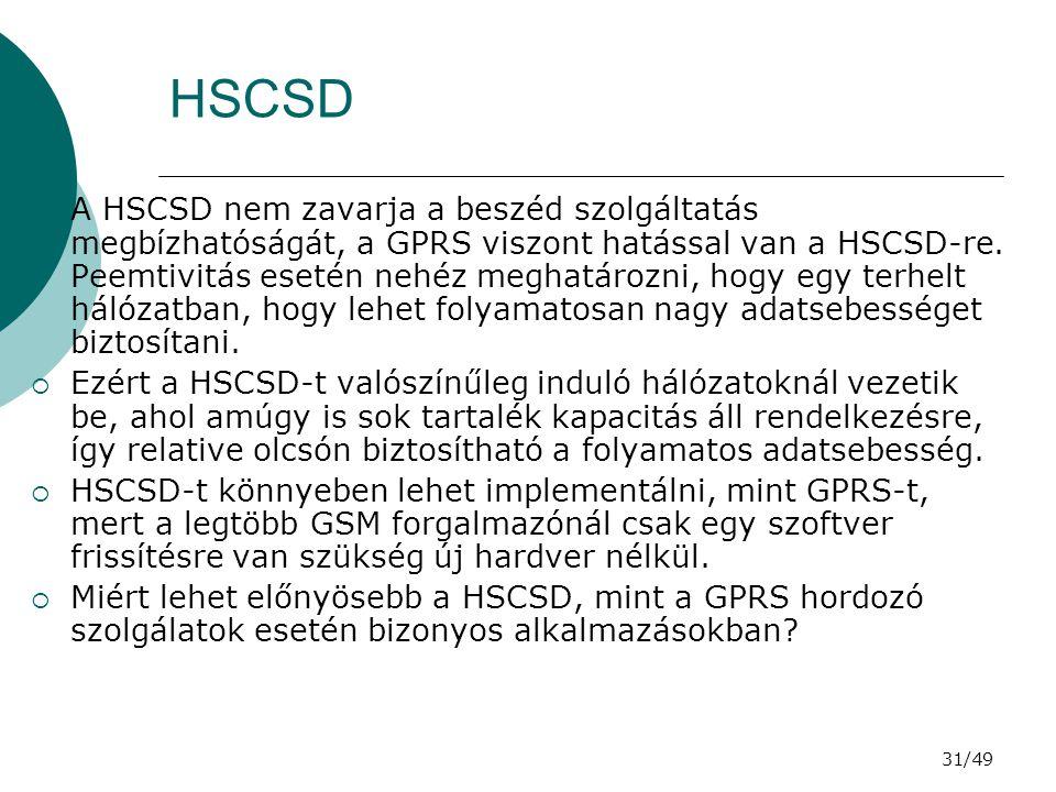 31/49 HSCSD  A HSCSD nem zavarja a beszéd szolgáltatás megbízhatóságát, a GPRS viszont hatással van a HSCSD-re.