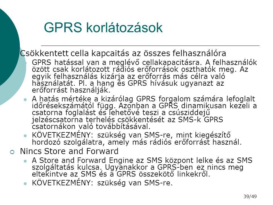 39/49 GPRS korlátozások  Csökkentett cella kapcaitás az összes felhasználóra GPRS hatással van a meglévő cellakapacitásra.