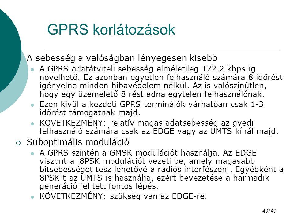 40/49 GPRS korlátozások  A sebesség a valóságban lényegesen kisebb A GPRS adatátviteli sebesség elméletileg 172.2 kbps-ig növelhető.