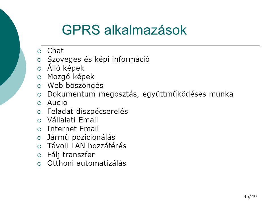 45/49 GPRS alkalmazások  Chat  Szöveges és képi információ  Álló képek  Mozgó képek  Web böszöngés  Dokumentum megosztás, együttműködéses munka  Audio  Feladat diszpécserelés  Vállalati Email  Internet Email  Jármű pozícionálás  Távoli LAN hozzáférés  Fálj transzfer  Otthoni automatizálás