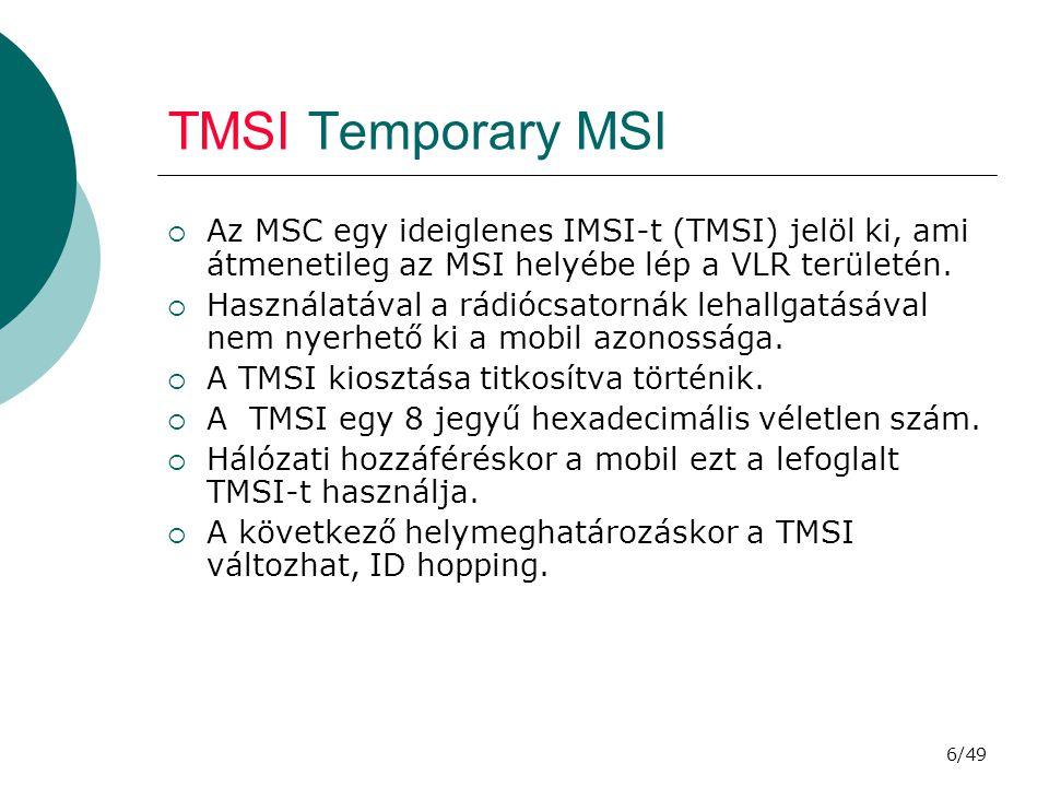 6/49 TMSI Temporary MSI  Az MSC egy ideiglenes IMSI-t (TMSI) jelöl ki, ami átmenetileg az MSI helyébe lép a VLR területén.