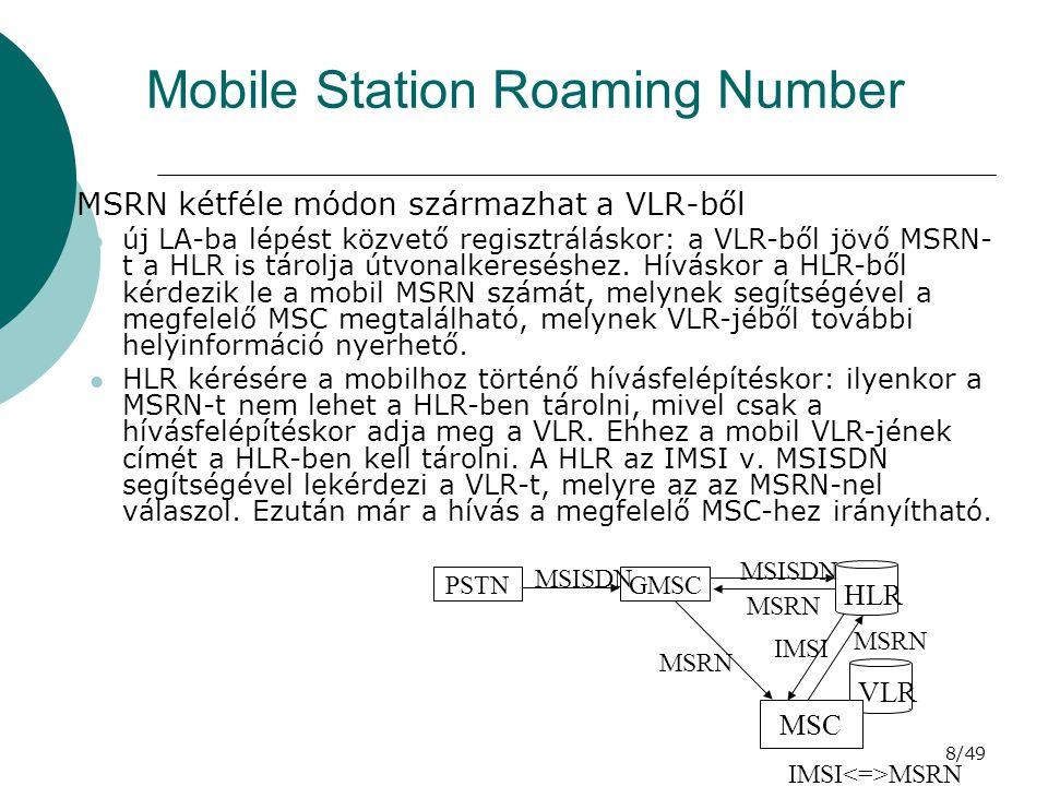 9/49 IMEI International Mobile Equipment Identity IMEI = TAC + FAC + SNR + (SP), CD –TAC = Type Approval Code, típusengedélyezési kód, központi –FAC = Final Assembly Code, összszerelési kód, gyártó –SNR = Serial Number, sorozatszám, gyártó –SP = Spare Digit, tartalék digit –CD = Check Digit, ellenőrző digit TACFACSNR IMEI 15 digits CD 6 digits2 digits6 digits1 digit