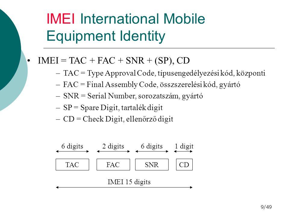 10/49 LAI Location Area Identity LAI = MCC + MNC + LAC –MCC = Mobile Country Code, mobil ország kód –MNC = Mobile Network Code, mobil hálózat kód –LAC = Location Area Code, lokációs terület kód (max 16 bit) BCCH-n sugározzák, segítségével minden cella LA-hoz rendelhető.