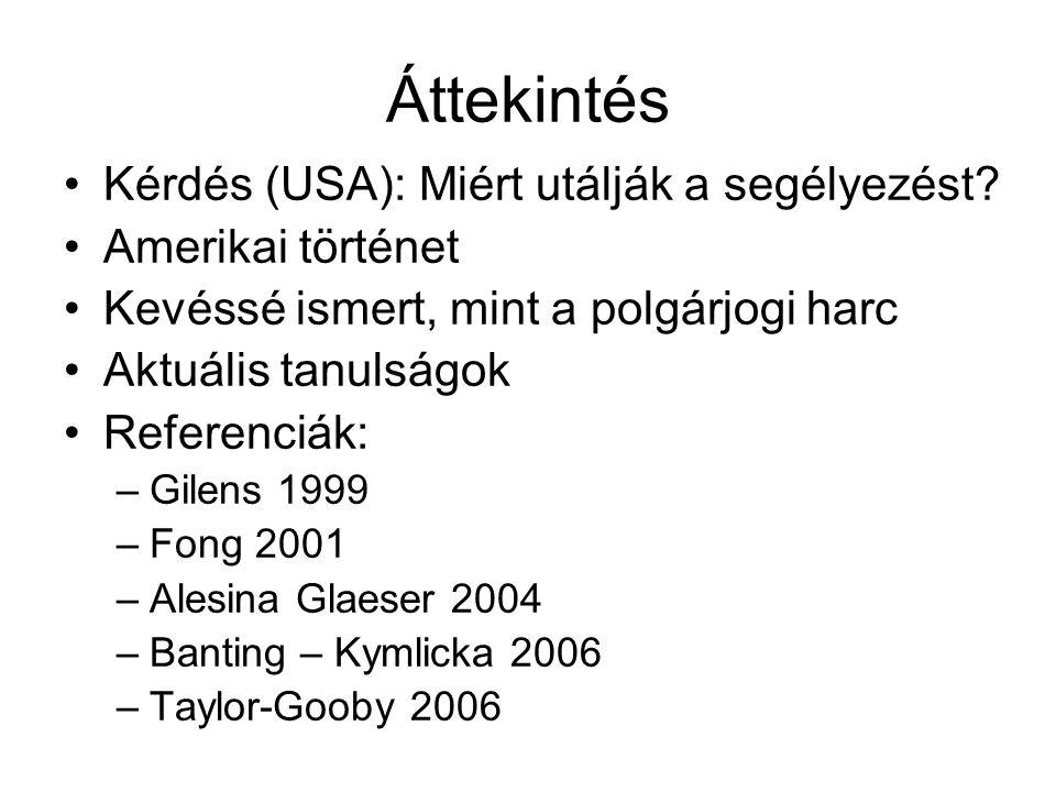 Kisebbségek és jóléti rendszer Multikulturalizmus és redisztribúció: nincs összefüggés (Banting – Kylicka 2006) Heterogenitás – redisztribúció: erős negatív összefüggés (Alesina Glaeser 2004) –Elsősorban USA-n belül –Európai kritikák (Taylor-Gooby 2006)