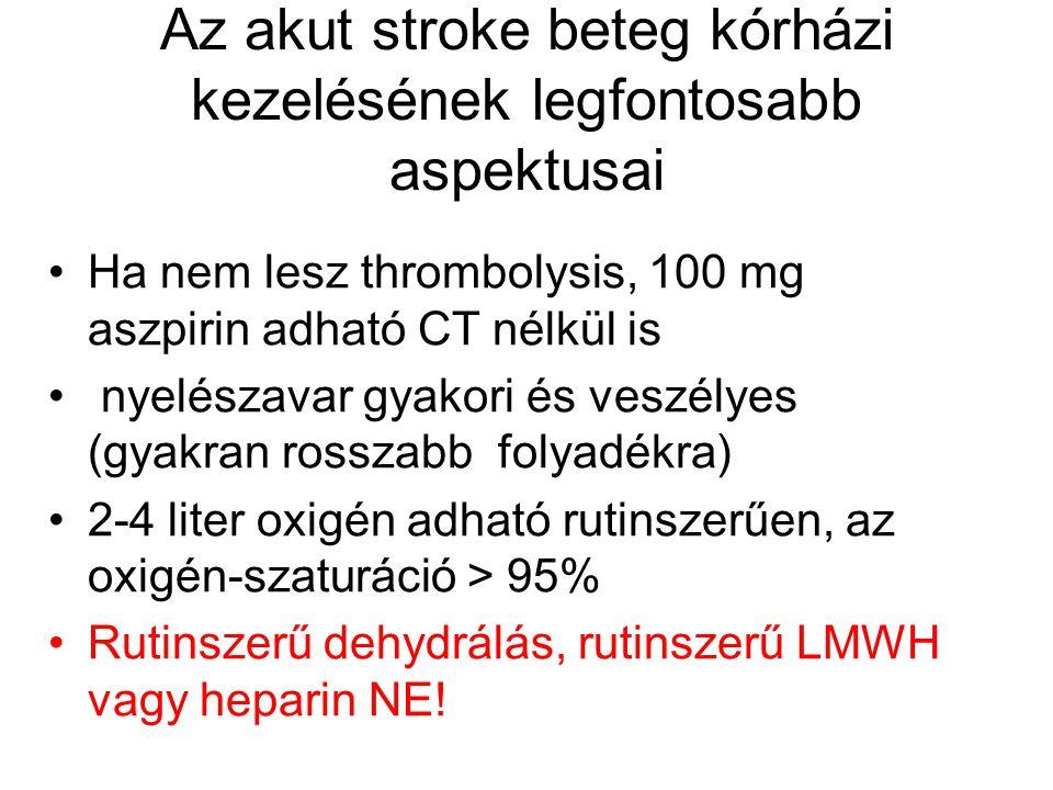 Az akut stroke beteg kórházi kezelésének legfontosabb aspektusai Ha nem lesz thrombolysis, 100 mg aszpirin adható CT nélkül is nyelészavar gyakori és