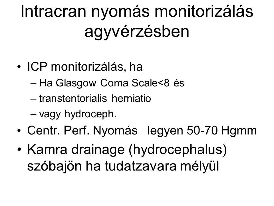 Intracran nyomás monitorizálás agyvérzésben ICP monitorizálás, ha –Ha Glasgow Coma Scale<8 és –transtentorialis herniatio –vagy hydroceph. Centr. Perf