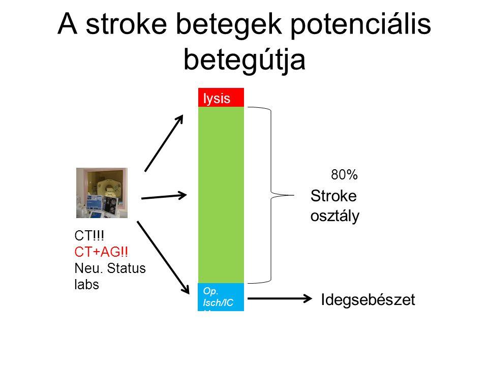Stroke osztály Idegsebészet lysis Op. Isch/IC H CT!!! CT+AG!! Neu. Status labs 80% A stroke betegek potenciális betegútja