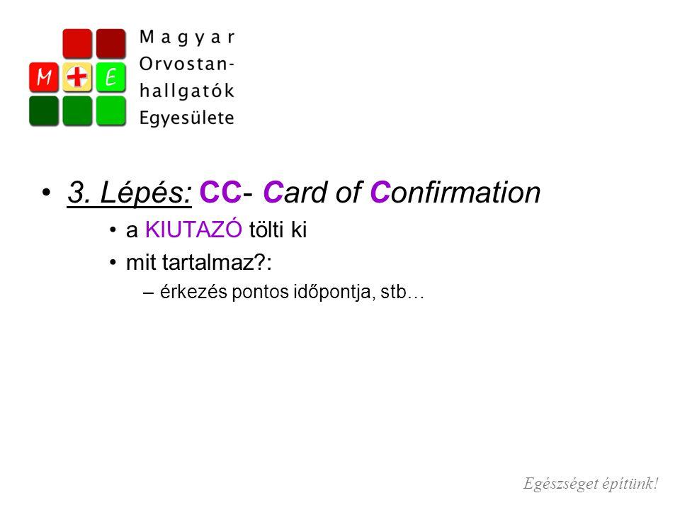3. Lépés: CC- Card of Confirmation a KIUTAZÓ tölti ki mit tartalmaz?: –érkezés pontos időpontja, stb… Egészséget építünk!