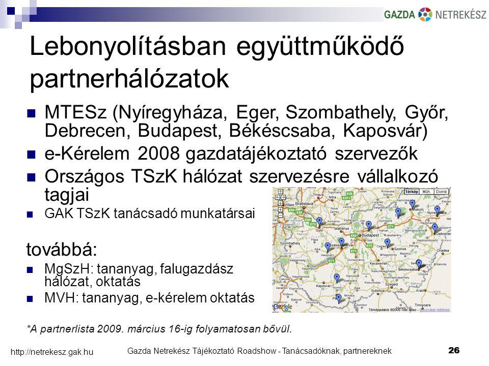 Gazda Netrekész Tájékoztató Roadshow - Tanácsadóknak, partnereknek26 http://netrekesz.gak.hu 26 Lebonyolításban együttműködő partnerhálózatok MTESz (Nyíregyháza, Eger, Szombathely, Győr, Debrecen, Budapest, Békéscsaba, Kaposvár) e-Kérelem 2008 gazdatájékoztató szervezők Országos TSzK hálózat szervezésre vállalkozó tagjai GAK TSzK tanácsadó munkatársai továbbá: MgSzH: tananyag, falugazdász hálózat, oktatás MVH: tananyag, e-kérelem oktatás *A partnerlista 2009.
