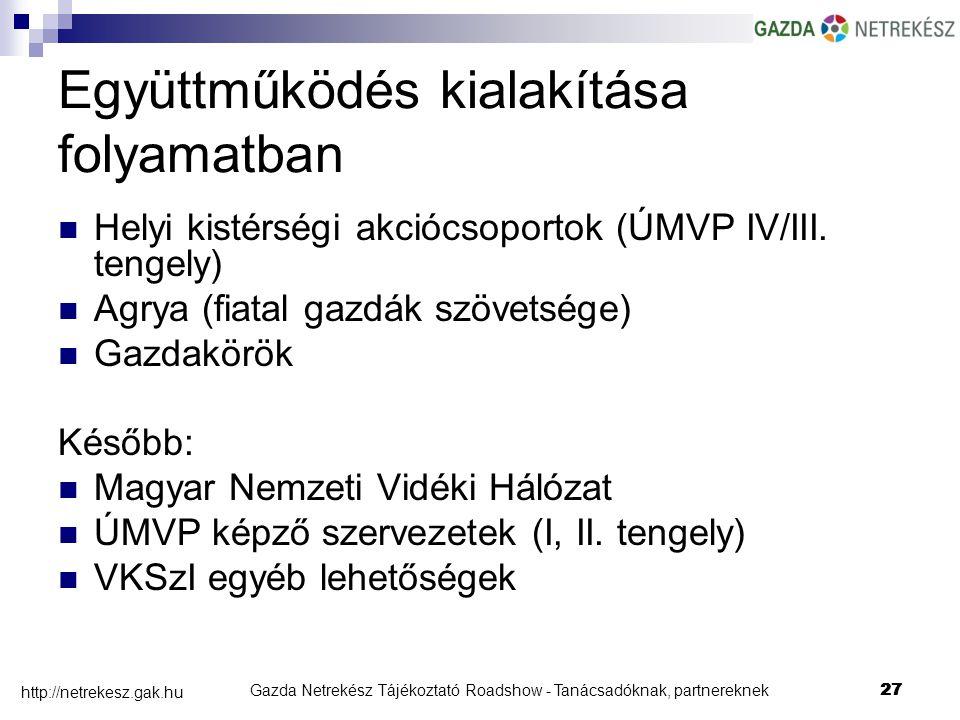 Gazda Netrekész Tájékoztató Roadshow - Tanácsadóknak, partnereknek27 http://netrekesz.gak.hu 27 Együttműködés kialakítása folyamatban Helyi kistérségi akciócsoportok (ÚMVP IV/III.