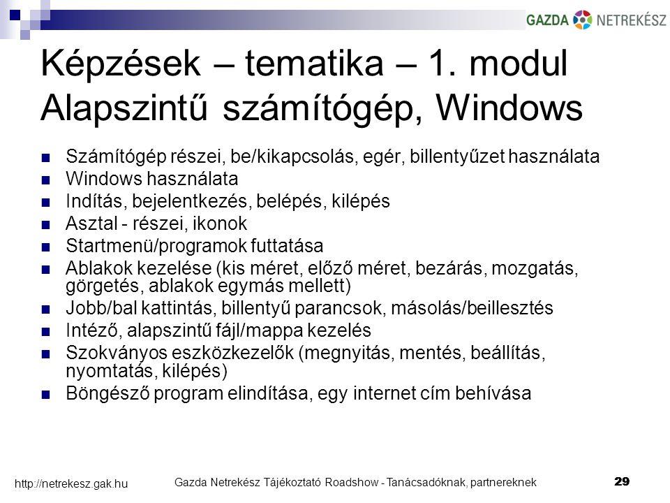 Gazda Netrekész Tájékoztató Roadshow - Tanácsadóknak, partnereknek29 http://netrekesz.gak.hu 29 Képzések – tematika – 1.