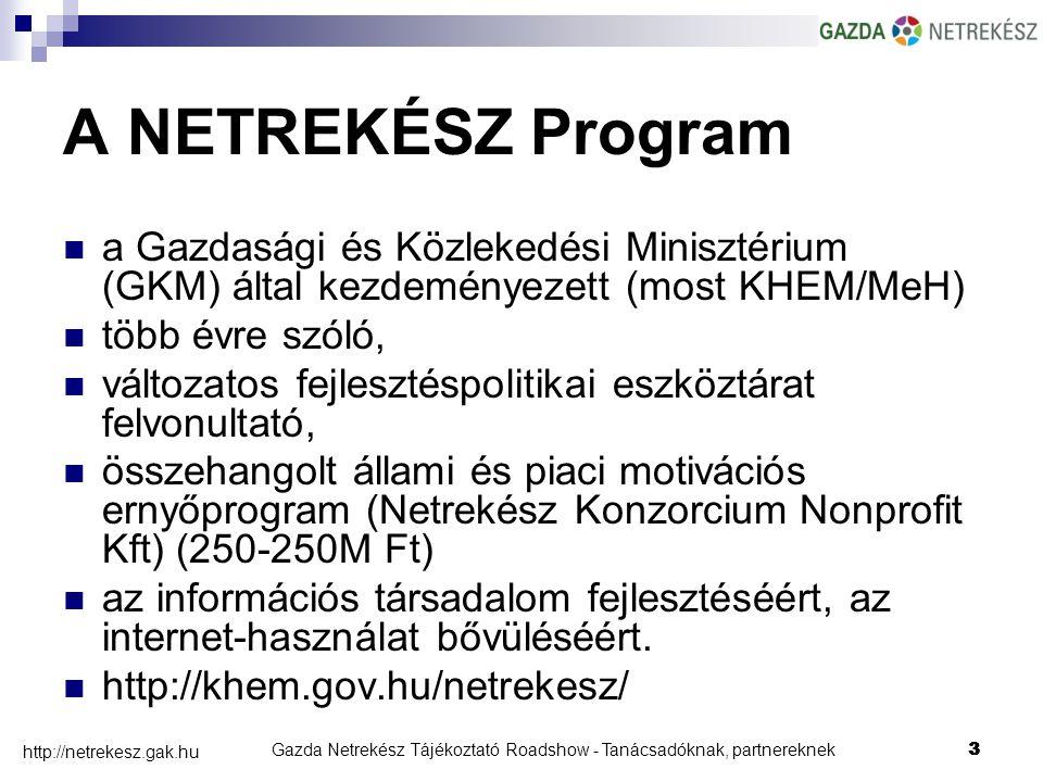 Gazda Netrekész Tájékoztató Roadshow - Tanácsadóknak, partnereknek3 http://netrekesz.gak.hu 3 A NETREKÉSZ Program a Gazdasági és Közlekedési Minisztérium (GKM) által kezdeményezett (most KHEM/MeH) több évre szóló, változatos fejlesztéspolitikai eszköztárat felvonultató, összehangolt állami és piaci motivációs ernyőprogram (Netrekész Konzorcium Nonprofit Kft) (250-250M Ft) az információs társadalom fejlesztéséért, az internet-használat bővüléséért.